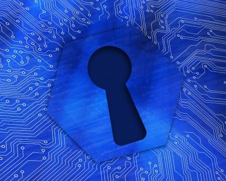 Keyhole graphic on blue computing background Stock Photo - 18118665