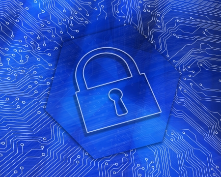 proportionate: Lock graphic on blue computing background Stock Photo
