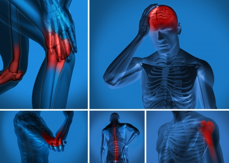 Various body pain highlighted on figure of man Stock Photo