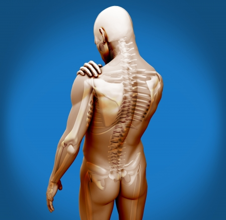 Transparent digital body with shoulder pain on blue background photo