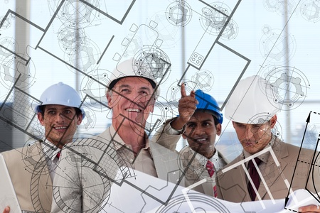 envisioning: Team of smiling architects envisioning their idea