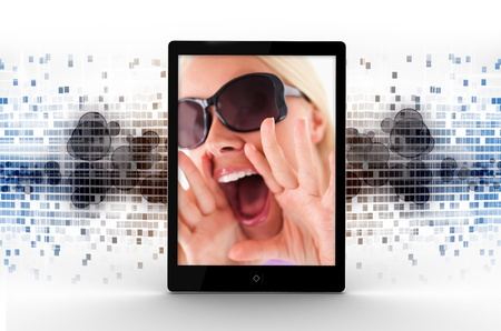 displaying: Tablet computer displaying picture of woman shouting on blue mosaic background