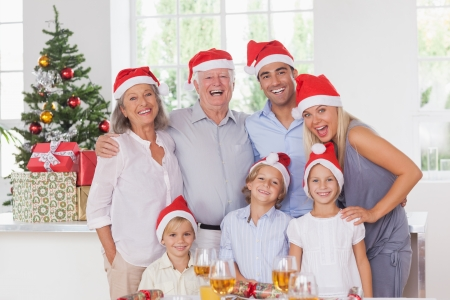 Happy family posing for photo at christmas photo