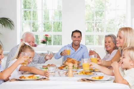 multiracial family: Smiling family toasting at thanksgiving at the dinner table