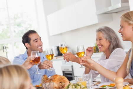multiracial family: Happy family raising their glasses at thanksgiving dinner Stock Photo