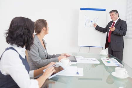 Businessman listening to a question and explaining with smile on a whiteboard  photo