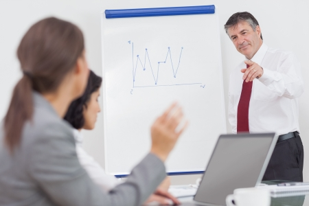 Businesswoman using a laptop during a conference and asking a question in office photo