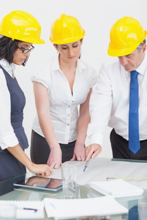 Architects looking at plan in office Stock Photo - 18119770