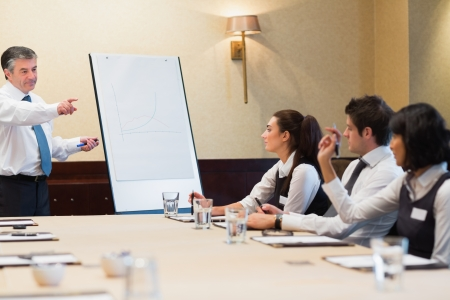 Businessman answering question during presentation in conference room photo