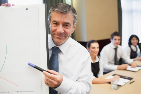 Businessman pointing to graph at presentation photo