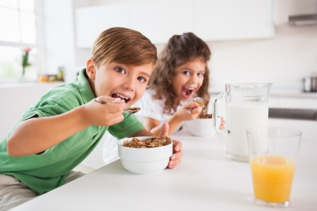 Two children looking at camera while eating cereal in kitchen photo