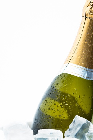 chilling: Champagne chilling on ice on white background