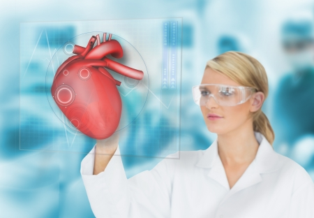 Doctor consulting heart diagram on touchscreen display in surgery photo