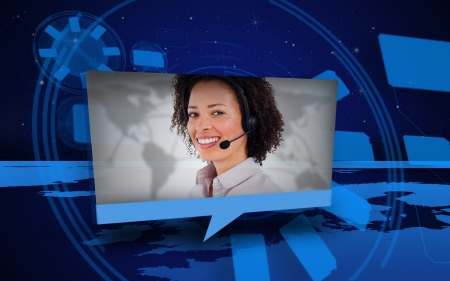 chat online: Digital speech box showing woman in headset coming from world map in blue Stock Photo