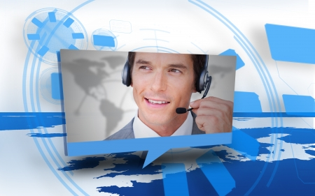 man headset: Digital speech box showing man in headset coming from world map in blue and white Stock Photo