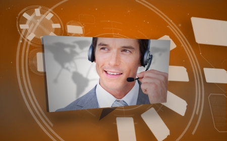 Digital speech box showing man in headset on orange interface background photo