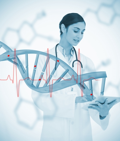 Doctor using tablet pc with graphic dna helix and ECG line on background on chemical formulas photo