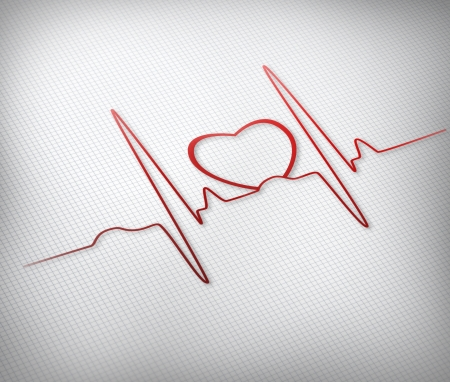 grid background: Red ECG line with healthy heart graphic on grey grid background