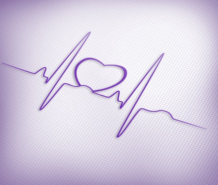Purple ECG line with heart graphic on purple gird background photo