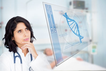 dna helix: Doctor studying virtual screen showing DNA helix in hospital ward Stock Photo