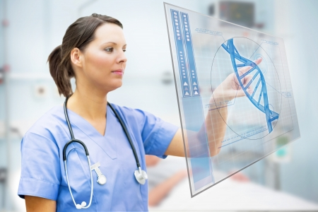 Nurse touching screen displaying blue DNA helix in hospital ward Stock Photo - 18132263