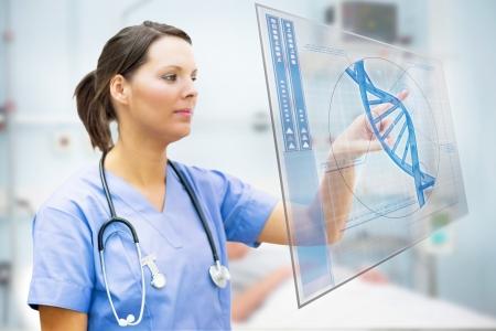 hospital ward: Nurse touching screen displaying blue DNA helix in hospital ward