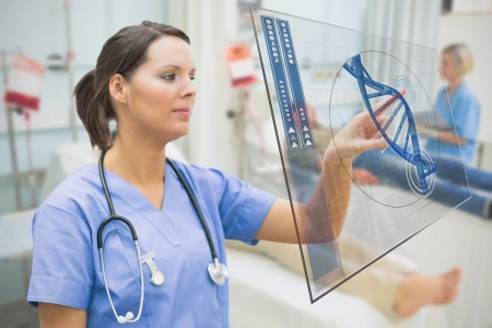 Nurse touching screen displaying blue DNA helix data in hospital ward Stock Photo - 18132289
