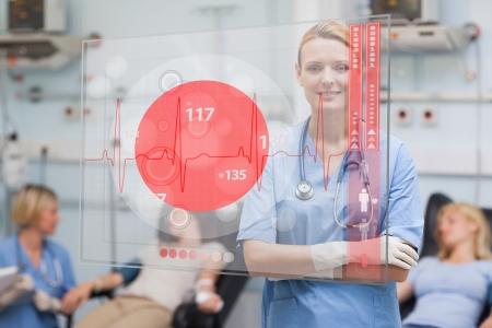 ward: Smiling nurse standing behind red ECG display screen in hospital ward Stock Photo