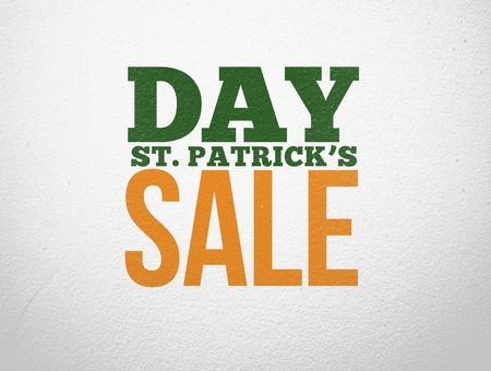 saint patty: Pubblicit� verde e arancione per St Patricks Day vendita su sfondo muro stile Archivio Fotografico
