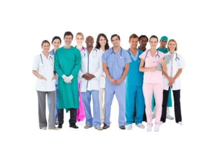 Smiling medical team on white background photo