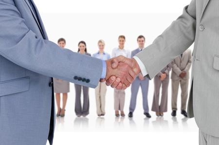 Businessmen shaking hands with business team standing behind photo