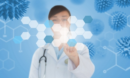 spore: Brunette doctor pressing touchscreen displaying chemical formula on blue background with virus