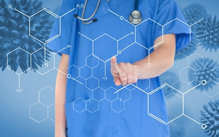 Doctor pressing touchscreen displaying chemical formula on blue virus background photo