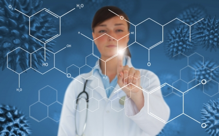 Doctor pressing touchscreen displaying holographic chemical formula on blue spore virus background photo