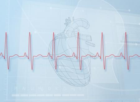 signos vitales: Hearth ilustraci�n detr�s de una l�nea latido del coraz�n Foto de archivo
