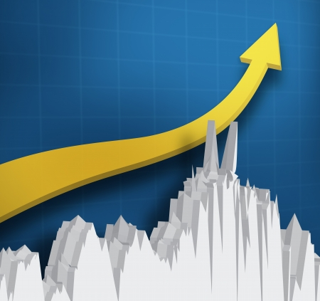 Digital yellow arrow with a graph against a blue background photo