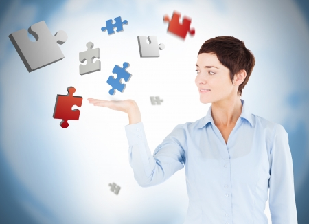 levitating: Well dressed woman with digital puzzles levitating  Stock Photo