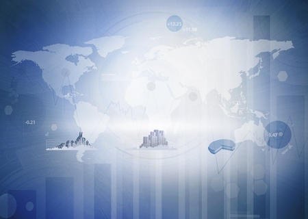 global finance: Digital blue background with the world map