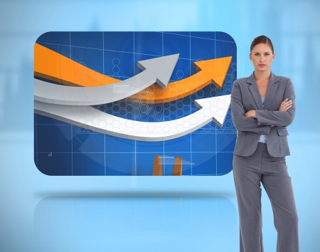 crossed arms: Businesswoman crossed arms near to a digital screen levitating
