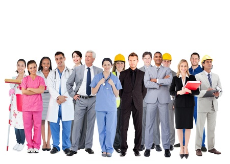 Smiling group of people with different jobs on white background Stock Photo - 18133276