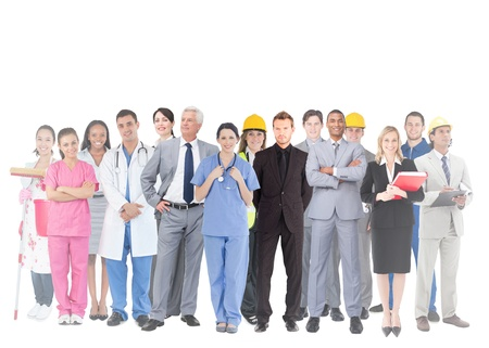 Smiling group of people with different jobs on white background photo