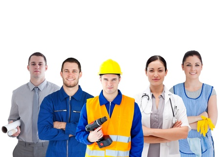 different jobs: Group of people with different jobs standing arms folded in line on white background Stock Photo