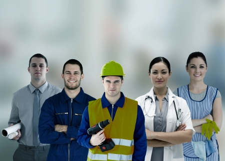 different jobs: Group of smiling people with different jobs in grey tint Stock Photo