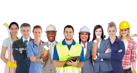 Group of smiling people with different jobs standing in line on white background photo