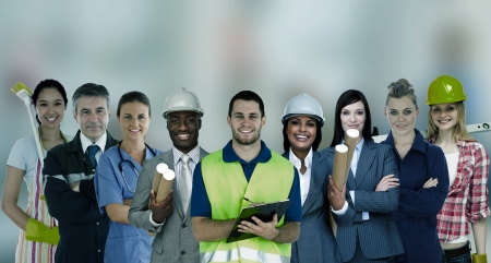 different jobs: Smiling people with different jobs standing in line Stock Photo