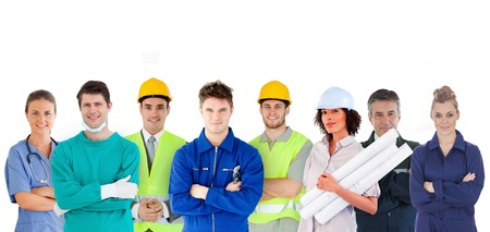 different jobs: Group of people with different jobs standing in line on white background