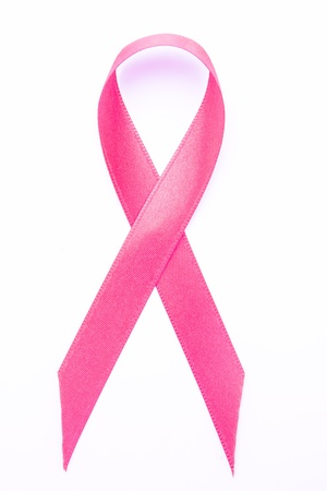 Pink awareness ribbon on white background Stock Photo