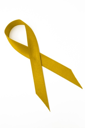 yellow ribbon: Yellow awareness ribbon on white background