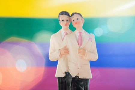 Gay groom wedding cake topper on rainbow background photo