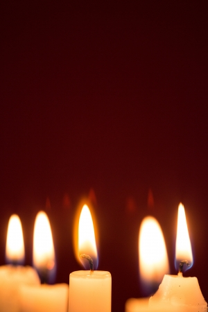 flickering: Five candles burning with copy space Stock Photo